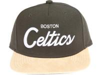 Boston Celtics Script Tan Suede Brim Mitchell & Ness Snapback Hat