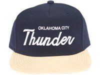 Oklahoma City Thunder Script Tan Suede Brim Mitchell & Ness Snapback Hat