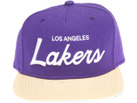 Los Angeles Lakers Script Tan Suede Brim Mitchell & Ness Snapback Hat