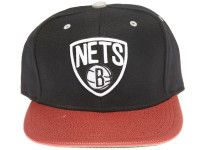 Brooklyn Nets Basketball Leather Brim Mitchell & Ness Black Snapback Hat