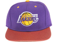Los Angeles Lakers Basketball Leather Brim Mitchell & Ness Purple Snapback Hat