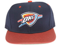 Oklahoma City Thunder Basketball Leather Brim Mitchell & Ness Navy Blue Snapback Hat