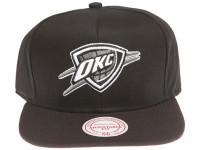Oklahoma City Thunder White and Grey Logo Mitchell & Ness Black Snapback Hat