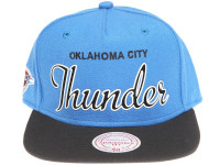 Oklahoma City Thunder White Outline Script Mitchell & Ness Light Blue Snapback Hat