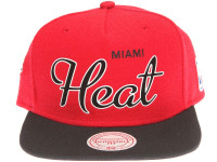 Miami Heat White Outline Script Mitchell & Ness Red Snapback Hat