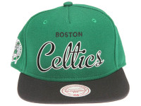 Boston Celtics White Outline Script Mitchell & Ness Green Snapback Hat