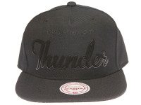 Oklahoma City Thunder Black Metal Outline Script Mitchell & Ness Black Snapback Hat