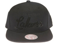 Los Angeles Lakers Black Metal Outline Script Mitchell & Ness Black Snapback Hat