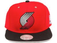 Portland Trialblazers Contrast Sandwich Brim Mitchell & Ness Red Snapback Hat