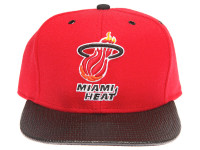Miami Heat Carbon Fiber Brim Mitchell & Ness Red Snapback Hat