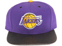 Los Angeles Lakers Carbon Fiber Brim Mitchell & Ness Purple Snapback Hat