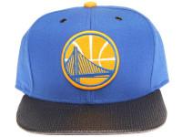 Golden State Warriors Carbon Fiber Brim Mitchell & Ness Blue Snapback Hat