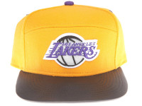 Los Angeles Lakers Reflective Logo / Underbrim Leather Brim Mitchell & Ness Yellow 5-Panel Snapback Hat