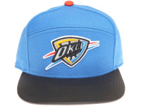 Oklahoma City Thunder Reflective Logo / Underbrim Leather Brim Mitchell & Ness Light Blue 5-Panel Snapback Hat