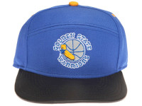 Golden State Warriors Reflective Logo / Underbrim Leather Brim Mitchell & Ness Navy Blue 5-Panel Snapback Hat