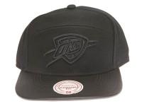 Oklahoma City Thunder Blackout Leather Brim Mitchell & Ness Black 5-Panel Strapback Hat
