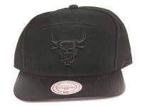 Chicago Bulls Blackout Leather Brim Mitchell & Ness Black 5-Panel Strapback Hat