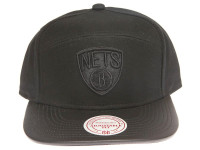 Brooklyn Nets Blackout Leather Brim Mitchell & Ness Black 5-Panel Strapback Hat