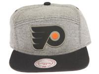 Philadelphia Flyers Rubber Logo Mitchell & Ness Grey Denim 5-Panel Strapback Hat
