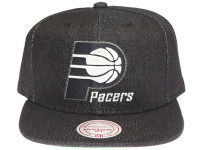 Indiana Pacers Logo Mitchell & Ness Dark Navy Blue Denim Snapback Hat
