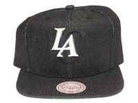 Los Angeles Clippers Logo Mitchell & Ness Dark Navy Blue Denim Snapback Hat
