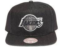 Los Angeles Lakers Logo Mitchell & Ness Dark Navy Blue Denim Snapback Hat
