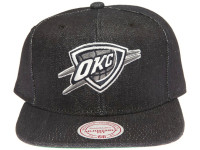 Oklahoma City Thunder Logo Mitchell & Ness Dark Navy Blue Denim Snapback Hat
