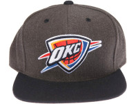 Oklahoma City Thunder Logo Mitchell & Ness Dark Tones Grey Snapback Hat
