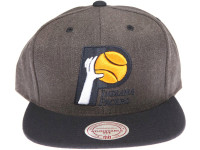Indiana Pacers Logo Mitchell & Ness Dark Tones Grey Snapback Hat