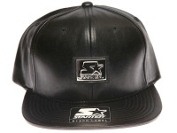 Starter Silver Metal Logo Black Leather STARTER Snapback Hat