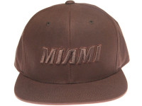 Miami Heat Waxed Canvas Fabric Mitchell & Ness Brown Strapback Hat