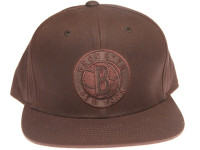 Brooklyn Nets Waxed Canvas Fabric Mitchell & Ness Brown Strapback Hat
