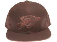 Oklahoma City Thunder Waxed Canvas Fabric Mitchell & Ness Brown Strapback Hat