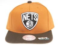 Brooklyn Nets Logo Mitchell & Ness Tan Canvas Snapback Hat