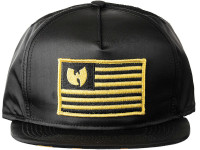 Wu Tang Iron Flag Black and Yellow Camo Underbrim Black Nylon Snapback Hat