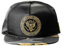 Wu Tang Commander Black and Yellow Camo Brim Black Nylon Snapback Hat
