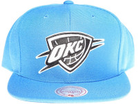 Oklahoma City Thunder White & Black Logo Mitchell & Ness Light Blue Snapback Hat