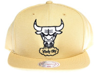 Chicago Bulls White & Black Logo Mitchell & Ness Tan Brown Snapback Hat