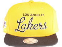 Los Angeles Lakers White Outline Script Mitchell & Ness Yellow Snapback Hat