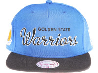 Golden State Warriors White Outline Script Mitchell & Ness Blue Snapback Hat
