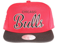 Chicago Bulls White Outline Script Mitchell & Ness Red Snapback Hat