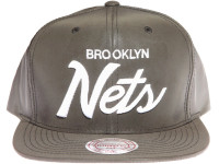 Brooklyn Nets Script Mitchell & Ness Grey 3M Reflective Material Snapback Hat