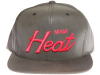Miami Heat Script Mitchell & Ness Grey 3M Reflective Material Snapback Hat