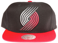 Portland Trailblazers XL Logo Mitchell & Ness 2Tone Black and Red Snapback Hat