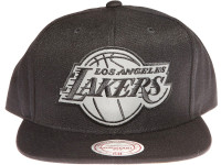 Los Angeles Lakers 3M Reflective Material Logo Mitchell & Ness Black Snapback Hat