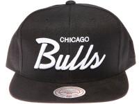 Chicago Bulls White Script Suede Brim Mitchell & Ness Black Snapback Hat