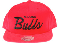 Chicago Bulls Black Script Suede Brim Mitchell & Ness Red Snapback Hat