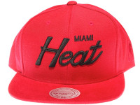 Miami Heat Black Script Suede Brim Mitchell & Ness Red Snapback Hat