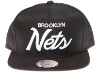 Brooklyn Nets White Script Suede Brim Mitchell & Ness Black Snapback Hat