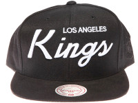 Los Angeles Kings White Script Suede Brim Mitchell & Ness Black Snapback Hat
